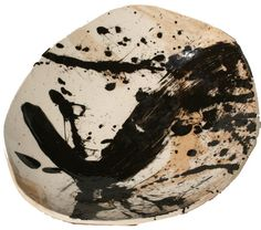 """Functional ceramic art by artist AJ Collins Ceramic Plate approx. 9.5"""" diameter  Item Name: Marbled clay bowl with black chaos slip and clear glaze, #1"""
