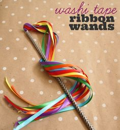 Ribbon Wands with Washi Tape Washi Tape Ribbon Wands - a 5 minute washi tape DIY that will have your kids playing for hours!Washi Tape Ribbon Wands - a 5 minute washi tape DIY that will have your kids playing for hours! Ribbon Wands, Diy Ribbon, Ribbon Crafts, Ribbon Sticks, Ribbon Projects, Ribbon Rose, Craft Projects, Crafts For Kids, Arts And Crafts