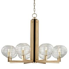 HUDSON VALLEY 2418-AGB - BRETON 8 LIGHT CHANDELIER, Aged Brass