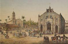 Vista de Inglesia Mayor y de la Ermita del Buen Viaje en San Juan de los Remedios. Isla de Cuba. c1836