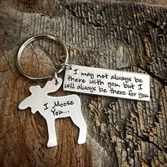 Long distance relationship Hand Stamped Moose Keychain I Moose