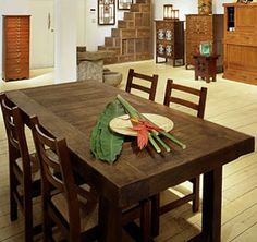 I want Mikey to build me a table similar to this and then by some chairs for it. We have enough wood kicking around our lot! Rustic Dining Room Sets, Wood Table Rustic, Glass Dining Table Set, Dinning Room Tables, Solid Wood Table, Wooden Dining Tables, Dining Room Furniture, A Table, Wood Furniture