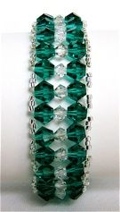Two rows of glittering green crystals lined with silver seed beads make up this Glamorous Teal Woven Bracelet. Free woven bead bracelet patterns don't get Beaded Bracelet Patterns, Woven Bracelets, Seed Bead Bracelets, Jewelry Patterns, Beading Patterns, Beaded Jewelry, Handmade Jewelry, Seed Beads, Handmade Beads