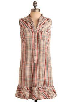 Plaid-eline Dress by Jack by BB Dakota - Multi, Red, Orange, Green, Blue, Pink, Grey, Plaid, Buttons, Pockets, Ruffles, Casual, Sheath / Shi...