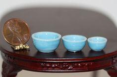 3 Piece Blue Glazed Ceramic Bowl Set