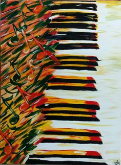Piano acrylic painting for my dad's bday. By Gail McCann Music Painting, Music Notes, Bee, Paintings, Dance, Crafty, Artwork, Pictures, Etsy