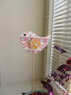Papír - fimo....zápich do květináče.