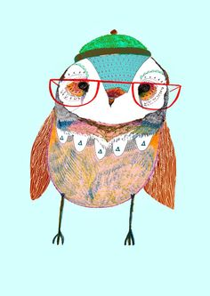 Cute baby owl with red glasses by Ashley Percival.