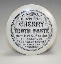 Antique Dentifrice Cherry Toothpaste Advertising Pot Lid - Early!