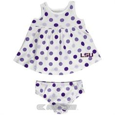 LSU Baby Dotty Sundress with Bloomers #LSU #Infant #Baby #Toddler #Babyfans