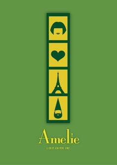 This is far and away one of my favorite movies, and this poster somehow captures the entire thing in 4 icons. -Amelie Minimalism Movie Poster design by Sabrina Jackson Minimal Movie Posters, Minimal Poster, Cinema Posters, Dorm Posters, Simple Poster, Amelie, Minimalism Movie, Audrey Tautou, Film Watch