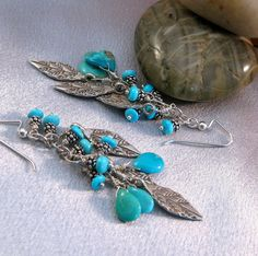 Turquoise Sky Feathered Earrings