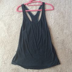 Lululemon long racer back. Dark Grey Don't know the name of it but it is really long. I'm 5'4. It is a size 4 but is pretty roomy and in my opinion would fit a 6 better. Worn once. lululemon athletica Tops Tank Tops