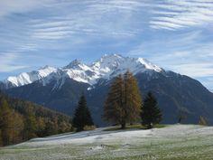 winterlicher Vorbote in Lantsch mit Blick auf die Bergünerstöcke im Kanton Graubünden