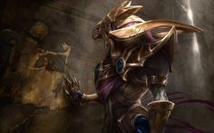 Azir, emperor of the sands- because all he's got left is dust and ash and memories of the people he once loved. But he'll be fine cause he still has Sivir to annoy(and his bros renekton & nasus). For...