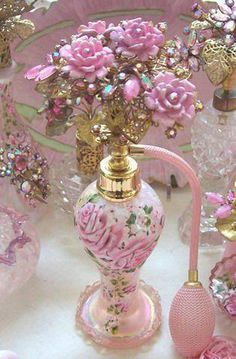 Imagine spraying this on that beautiful airy feel. Romantic Rose Boudoir ~ Vintage Iridescent Art Glass Perfume Bottle with Hand Painted Roses / Catherine Risi Pink AB Rhinestones and Navettes Cluster Roses Spray Filigree Top Perfume Atomizer, Antique Perfume Bottles, Vintage Bottles, Romantic Cottage, Romantic Roses, Perfumes Vintage, Back To Nature, Beautiful Perfume, Everything Pink