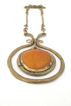 Rafael Alfandary Canada vintage brass and orange swirl glass kinetic necklace