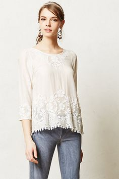 Lavinia Blouse #anthropologie---all my favorite details! cotton, batiste style, button back, embroidery. so pretty..