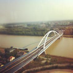 Amazing aerial view of the Apollo Bridge in #Bratislava (by petersedlacik) #tiltshift