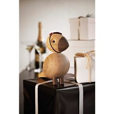 Kay Bojesen The Alfred songbird Natural and smoked oak., 16 cm x 7,5 cm x 15 cm