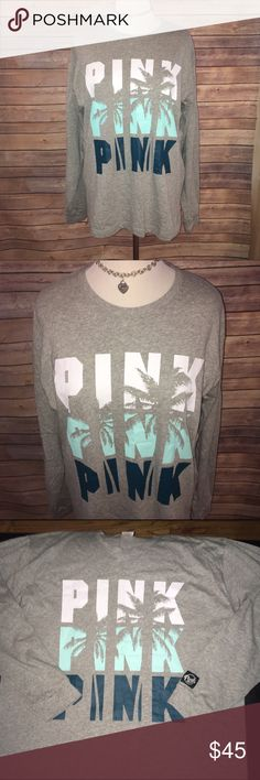 VS PINK Tropical 🌴 Long Sleeve Tee, Brand New! So cute, soft, oversized and comfy! Nice longer Tunic length, great paired with leggings! Heather charcoal shade with white, Tiffany blue, and teal graphic with cut out palm tree design. BNWOT (ordered online), excellent quality and condition. Sold out in size L. Check out my other listings to bundle and save 25% 😎! PINK Victoria's Secret Tops Tees - Long Sleeve