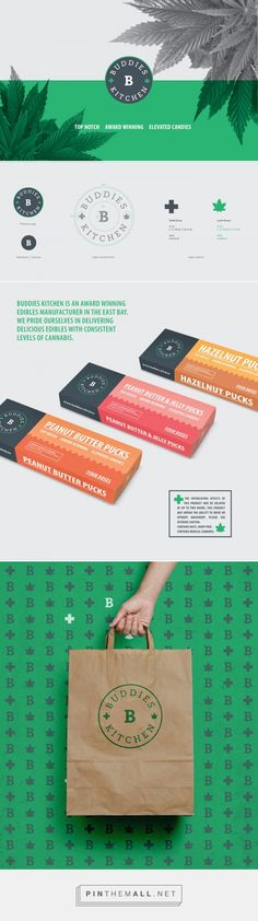 Branding, graphic design and packaging for Buddies Kitchen on Behance by Impprintz Graphic Design Mumbai, India curated by Packaging Diva PD. The design aesthetic is pharmaceutical in appeal, to consciously not attract the attention of children and pot smokers.