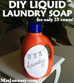 DIY Liquid Laundry Soap for Only 25 Cents via MrsJanuary.com #DIY #homemade