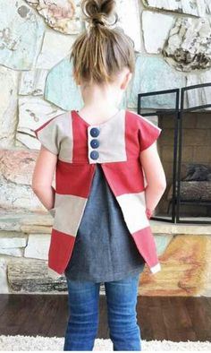 Shwin & Shwin Darling Details ❤ ~ back button and center accent pleat Sewing Kids Clothes, Sewing For Kids, Baby Sewing, Diy Clothes, Toddler Dress, Toddler Outfits, Baby Dress, Girl Dress Patterns, Kids Patterns