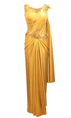 Draped Cocktail Saris - Frontier Raas-Bridal Wear - via WedMeGood Drape Sarees, Saree Draping Styles, Saree Styles, Saree Gown, Sari Dress, The Dress, Stylish Sarees, Stylish Dresses, Indian Designer Outfits