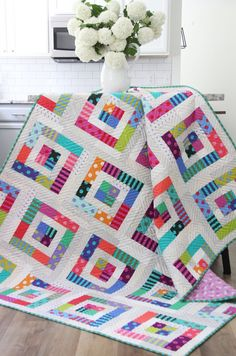 Color Pop Quilt Pattern, Downloadable in 5 sizes