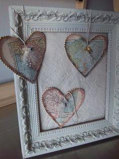 Vintage map heart ornaments handmade urban (by SweetMeadowDesigns)