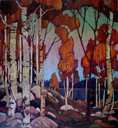 Decorative Landscape, Birches by Tom Thomson, Group of Seven - offset lithograph reproduction vintage fine art print Group Of Seven Artists, Group Of Seven Paintings, Canadian Painters, Canadian Artists, Landscape Art, Landscape Paintings, Tree Paintings, Tom Thomson Paintings, Tree Art