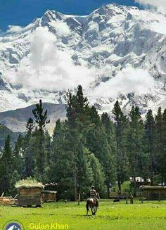 Awesome view of beautiful fairy meadows Nanga Parbat peak Karakoram mountains range Hunza valley Gilgit Baltistan Pakistan