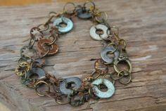 Wraparound Bracelet - Hardware Jewelry - Industrial Bracelet  with  Colorful Oxidized Washers