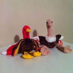 TY BEANIE BABIES GOBBLES Turkey STRETCH Ostrich Thanksgiving Toys Home Kids #Ty