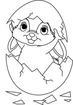 Easter: Easter bunny hatches from an egg for coloring Easter Coloring Pages, Colouring Pages, Coloring Sheets, Coloring Books, Happy Easter, Easter Bunny, Diy Crafts To Do, Art Drawings For Kids, Easter Printables