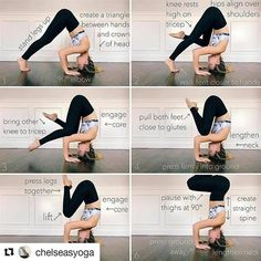 "161 Likes, 1 Comments - Yoga Meditation and Exercises (@yogaexercises101) on Instagram: ""image by Sirsasana II ↔ Tripod Headstand on @yogaalignment . . #yogaguide with @chelseasyoga…"""