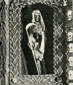 Valletta, Malta Chapel of Skulls .    Photo of a detail at the ossuary chapel on Malta, taken from a nineteenth-century English magazine. In its day, one of the world's famous ossuaries, but destroyed by a bomb in World War II.