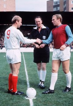 Bobby Moore (West Ham United) and Bobby Charlton (Manchester United), mid-1960s, Upton Park.