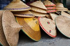 Stack Of Chinese Rice Farmers Conical Straw Hats Stock Photo - Image of cambodia, viet: 20149604 Myanmar Travel, Asian Restaurants, Weaving Designs, Medieval Fashion, Weaving Art, Graphic Design Branding, Hair Ornaments, Going Home, Clothing Co