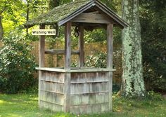 I love this old wishing well. really want a wishing well. but my problem is put it here or here. Well Pump Cover, Outdoor Projects, Outdoor Decor, Pond Water Features, Water Well, Decks And Porches, Wishing Well, Garden Ornaments, Yard Art