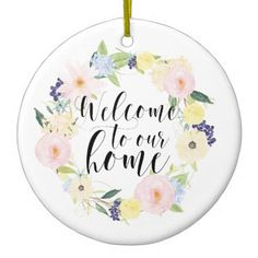 Pastel Spring Floral Wreath Welcome To Our Home Ceramic Ornament - spring gifts beautiful diy spring time new year