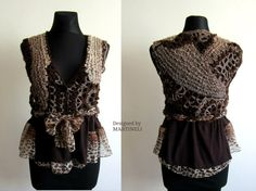 Freeform Crochet Sweater Top Animal Print Top Leopard by MARTINELI