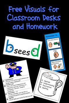 Free Visuals for Classroom Desks and Homework.