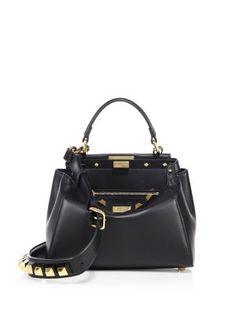 FENDI Mini Peekaboo Studded Leather Satchel. #fendi #bags #shoulder bags #hand bags #leather #satchel #