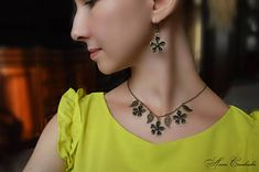 Beauty gift Necklace jewelry set brass jewelry flowers