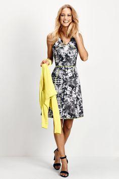 Scuba jurk met print Zwart - Sale - Collectie