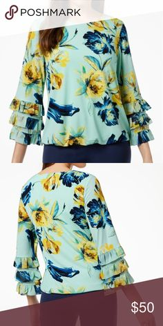 2edd5a2f4506b Alfani Petite Floral-Print Tiered-Cuff Top Alfani s vibrant petite top  gives off artsy vibes with vivid floral print. Triple tiers stagger down  the bottom ...