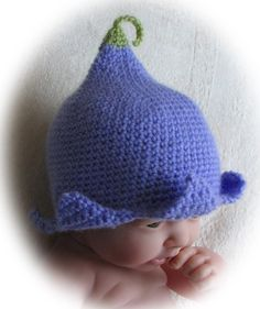 Crochet Pattern for Flower Fairy Bluebell Hat, sizes newborn to 3yrs. $3.50