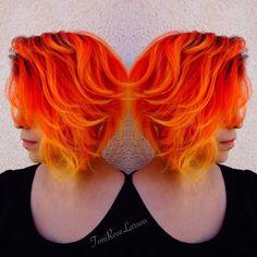 Orange yellow hair More